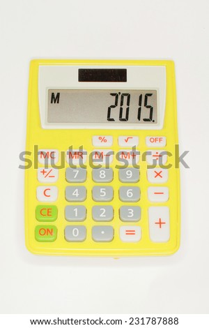 Yellow calculator isolated on white background