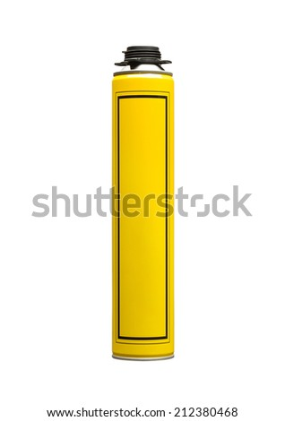 Yellow can of professional construction foam isolated on white - stock photo