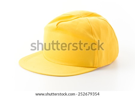 yellow cap on white background - stock photo