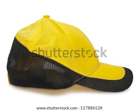 yellow cap with black border - side view - stock photo
