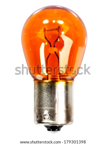 Yellow car indicator bulb on a white background - stock photo