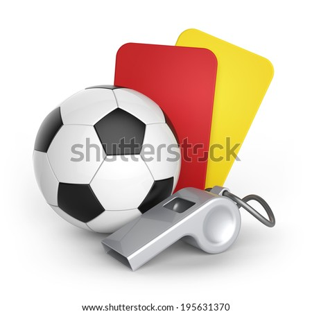 Yellow card, Red card and whistle.Football and abstract signs. - stock photo