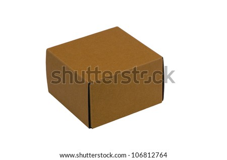 Yellow carton paper box isolated on white background.