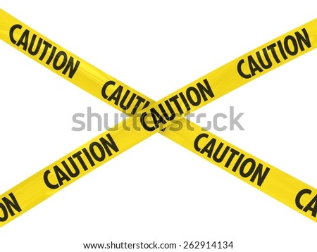 Yellow CAUTION Barrier Tape Cross - stock photo