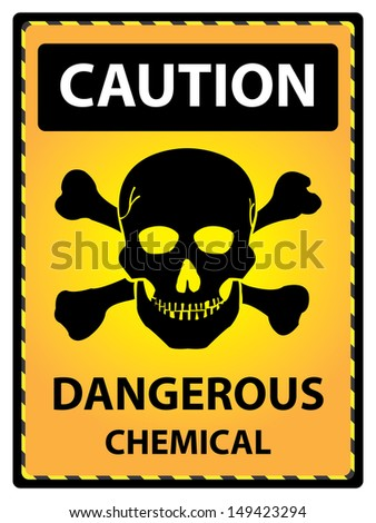 Yellow Caution Plate For Safety Present By Caution and Dangerous Chemical Text With Skull  Sign Isolated on White Background  - stock photo