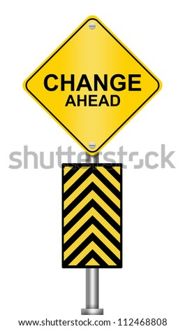 Yellow Caution Road Sign With Change Ahead Isolated on White Background - stock photo