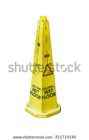 Yellow Caution slippery wet floor sign on white isolated background with clipping path.