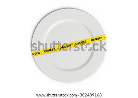 Yellow caution tape strips with text of danger on a white flat plate, isolated on white background.