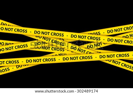 Yellow caution tape strips with text of do not cross, on black background. - stock photo