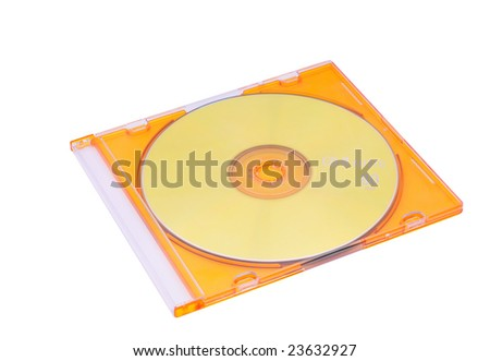 yellow cd in the jewel case isolated on white - stock photo