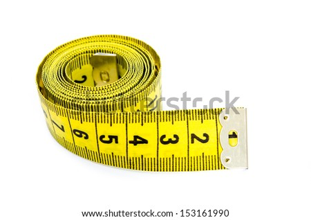 yellow centimeter isolated on a white background - stock photo