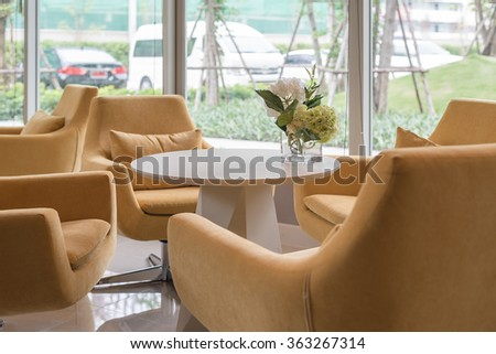 yellow chair and sofa  in modern living room design