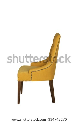 Yellow chair from velor for an interior of cafe, restaurants and the house