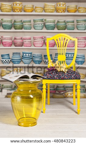 yellow chair living room decoration