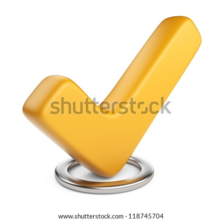 Yellow check mark. 3D Icon isolated on white background - stock photo