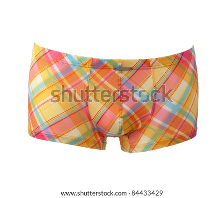 yellow checked nunderpants isolated on white background