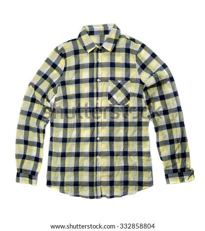 Yellow checkered shirt. Isolate on white. - stock photo