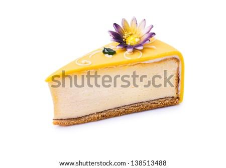 Yellow cheesecake slice on white background  - stock photo