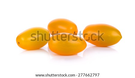 Yellow cherry tomato isolated on the white background.