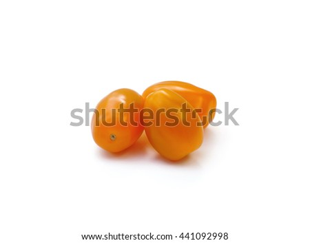 yellow cherry tomatoes isolated on white background - stock photo