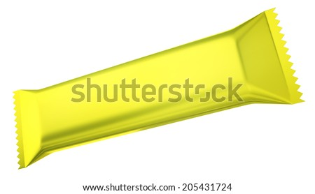 Yellow chocolate bar isolated on a white background. 3D render. - stock photo