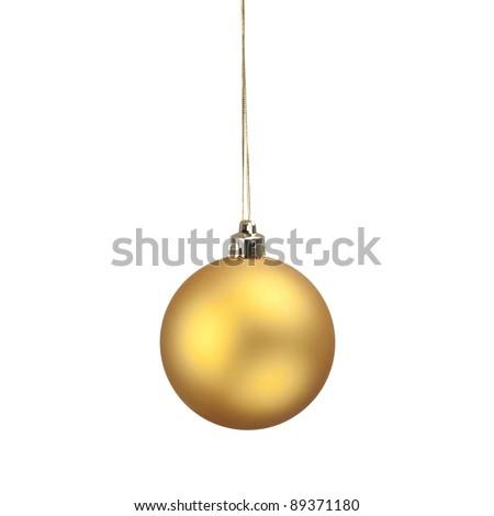 Yellow Christmas ball - stock photo