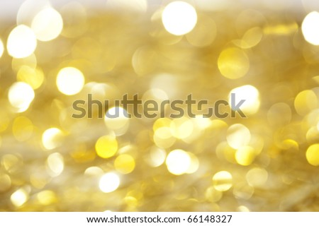 Yellow christmas lights as background - stock photo