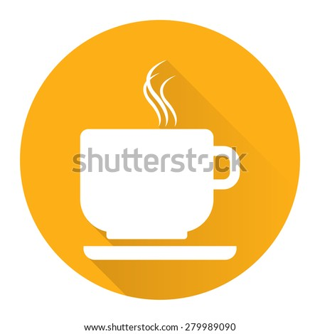 Yellow Circle Coffee Cup or Coffee Shop Long Shadow Style Icon, Label, Sticker, Sign or Banner Isolated on White Background - stock photo