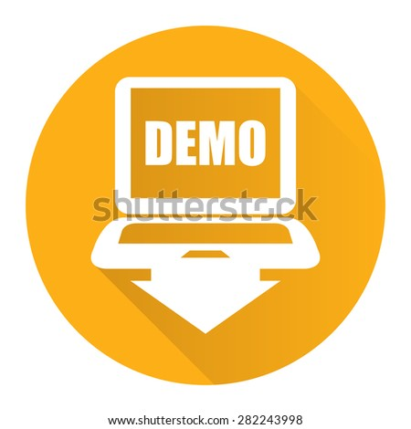 Yellow Circle Computer Laptop With Demo Text on Screen Monitor Flat Long Shadow Style Icon, Label, Sticker, Sign or Banner Isolated on White Background - stock photo
