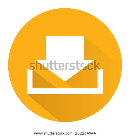 Yellow Circle Download Long Shadow Style Icon, Label, Sticker, Sign or Banner Isolated on White Background - stock photo