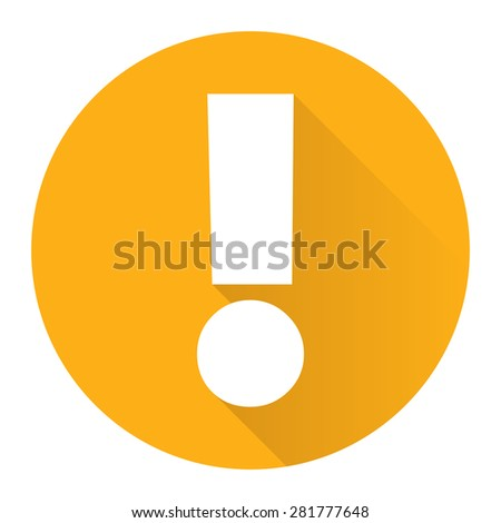 Yellow Circle Exclamation Mark Flat Long Shadow Style Icon, Label, Sticker, Sign or Banner Isolated on White Background - stock photo