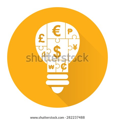 Yellow Circle Various Currency Sign Puzzle in Light Bulb Flat Long Shadow Style Icon, Label, Sticker, Sign or Banner Isolated on White Background - stock photo