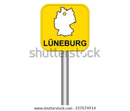 Yellow City Sign German City Gotha Stock Illustration - Luneburg germany map