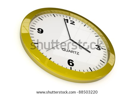 yellow classic office clock on white background