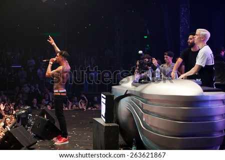 Yellow Claw band performing live at Space Moscow nightclub in Moscow, Russia on 8 February 2015
