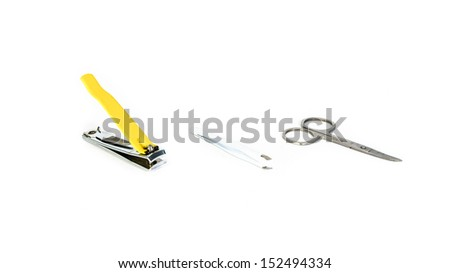 yellow Clippers ,Hair clip and Scissors isolated on white backgrounds - stock photo