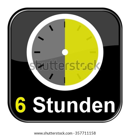 Yellow clock on black Button showing 6 hours in german language