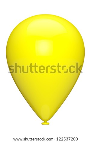 Yellow closeup balloon on a white background - stock photo