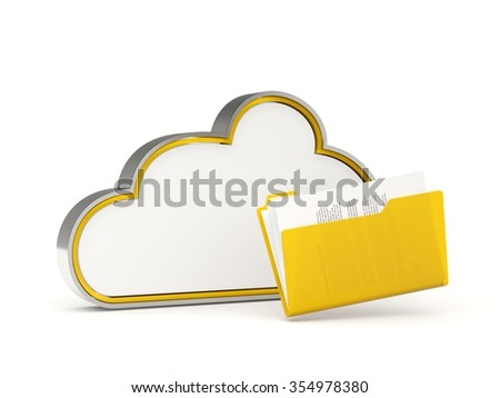 Yellow cloud drive icon with folders isolated on white