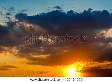 Yellow clouds in the sky (beautiful sunset)