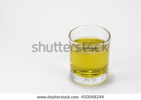 yellow cocktail in white background