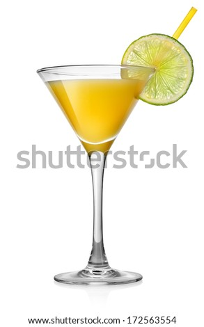 Yellow cocktail with lime isolated on white