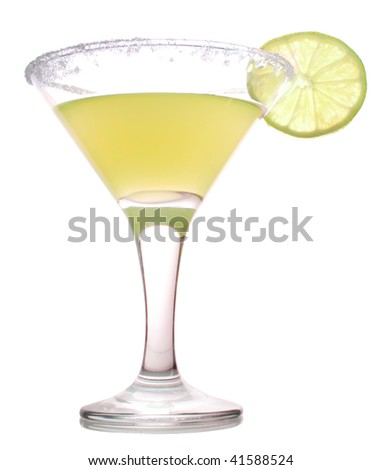 yellow cocktail with slice of lime isolated on white