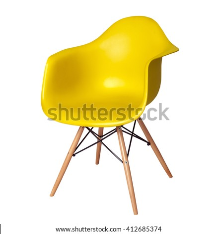 Yellow color chair, modern designer chair isolated on white background. Plastic chair cut out. Series of furniture