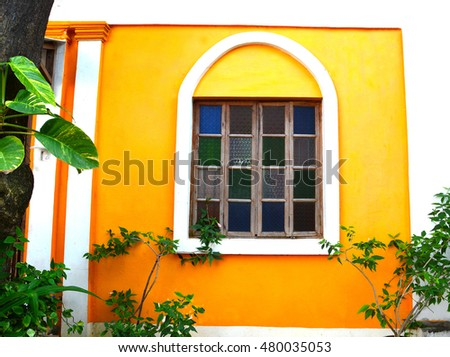Yellow Color Painted Walls French Architecture Stock Photo (Safe to ...