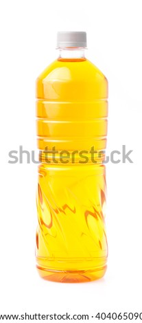 yellow colored drinks in bottle isolated on white background - stock photo