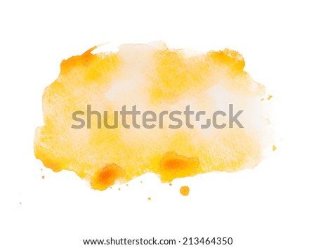 Yellow colorful abstract hand draw watercolour aquarelle art paint splatter stain on white background