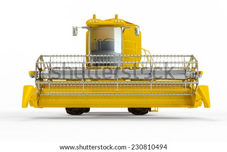 Yellow Combine harvester isolated on a white background. Front face view - stock photo