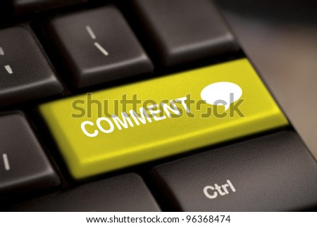 yellow comment enter key and speech bubble icon. - stock photo