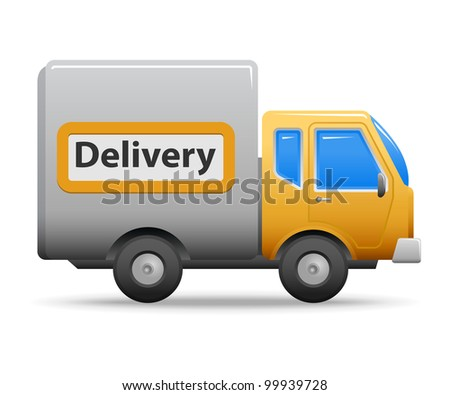 Yellow commercial vehicle isolated on white background. - stock photo